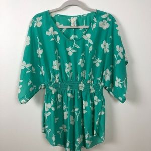 Floral Green & White Cinched Waist Blouse